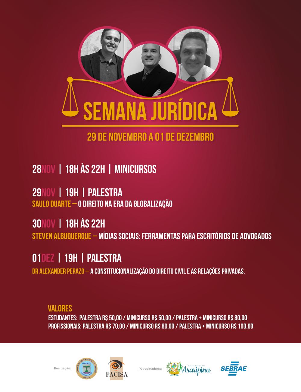 Aeda e Facisa promovem Semana Jurídica com palestras e minicursos