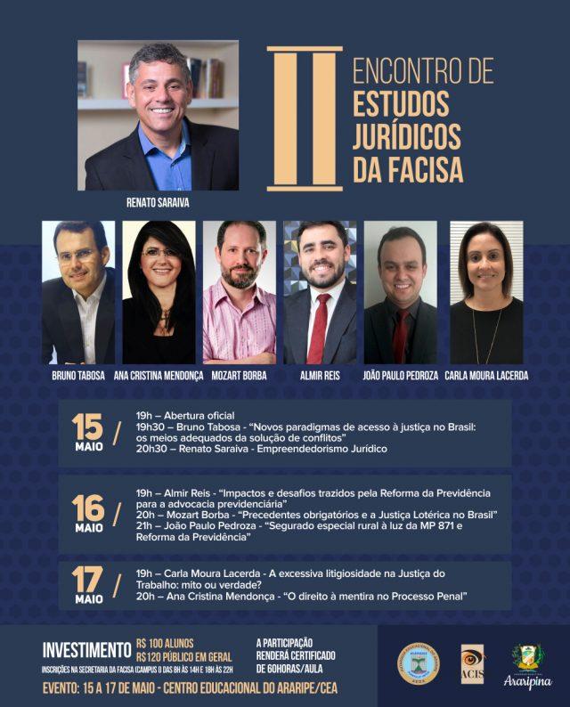 Facisa realiza II Encontro de Estudos Jurídicos com palestrantes nacionais