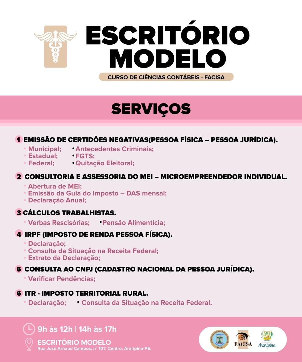 Conheça os serviços ofertados pelo Escritório Modelo de Contabilidade da Facisa