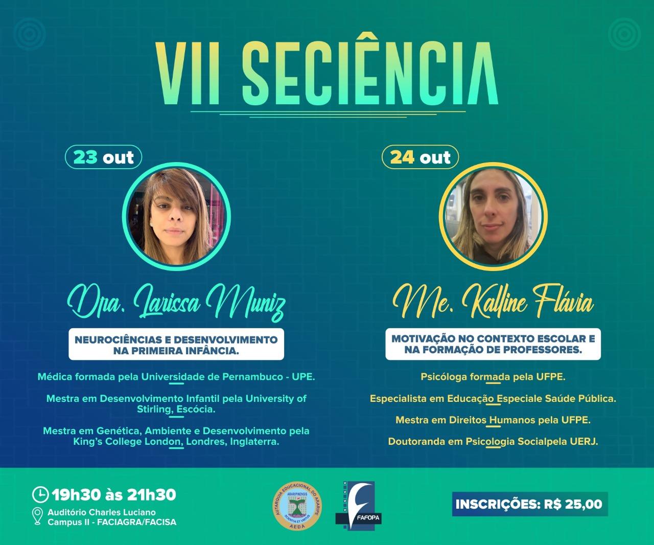 Fafopa abre inscrições para a VII SECIÊNCIA que será realizada nos dias 23 e 24 de outubro