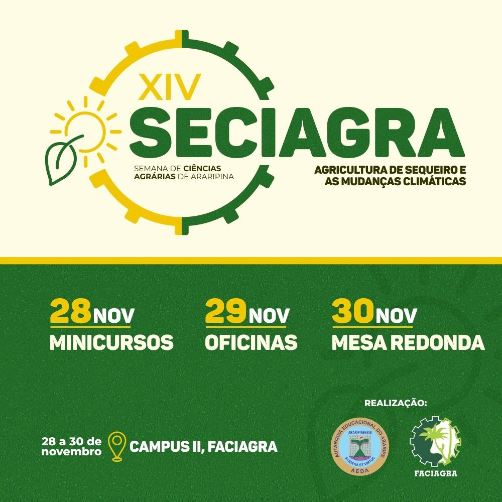Confira a programação da XIV SECIAGRA que acontecerá nos dias 28, 29 e 30 de novembro