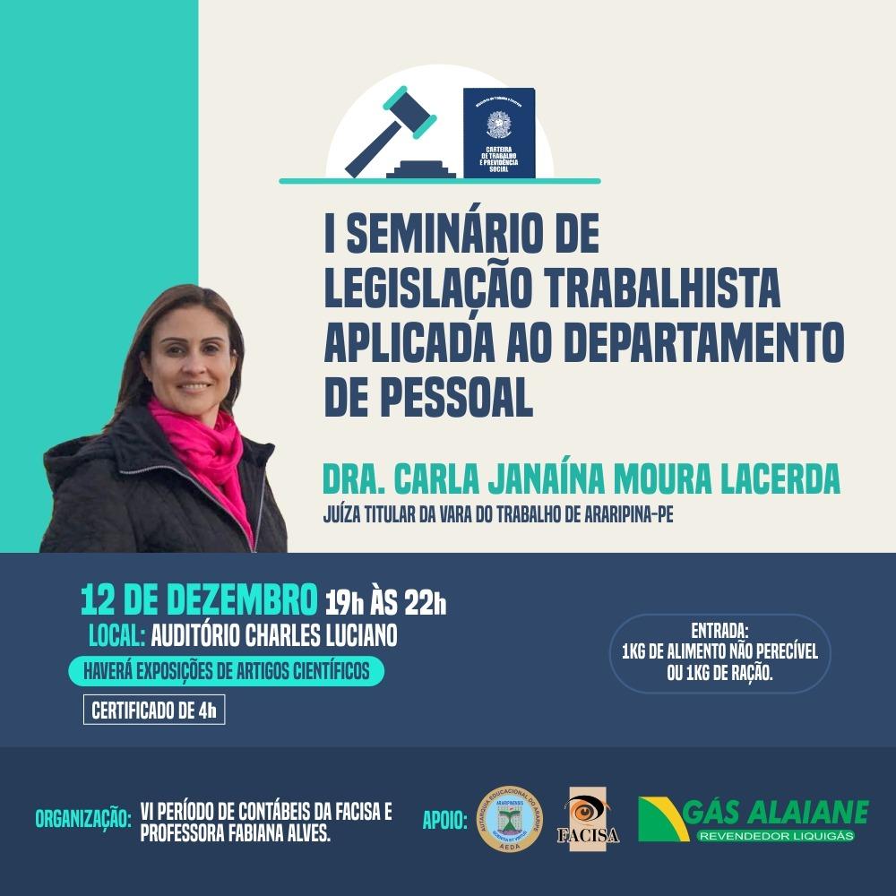 I Seminário de Legislação Trabalhista Aplicada ao Departamento de Pessoal acontecerá na próxima quinta-feira