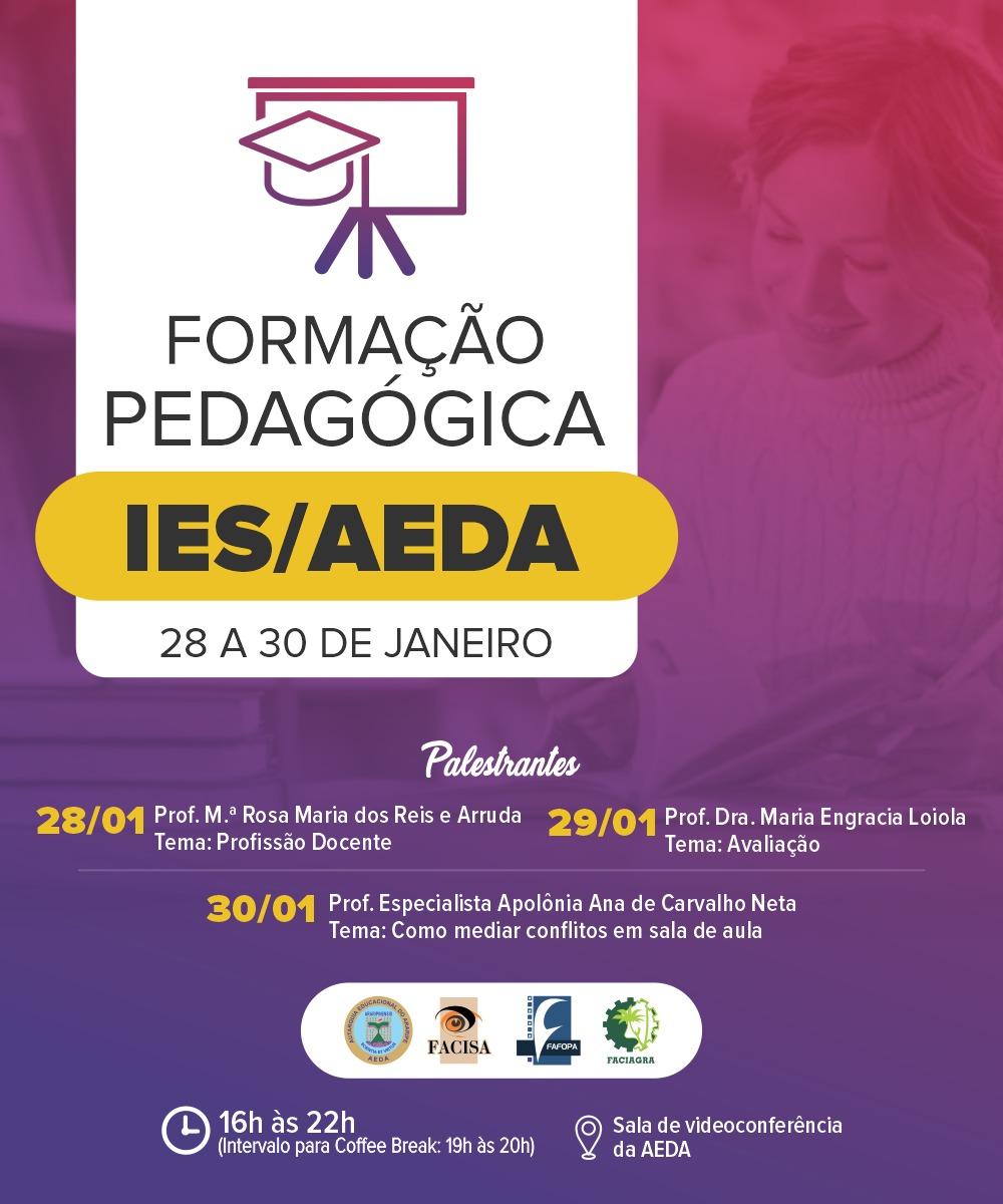 AEDA irá promover formação pedagógica das IES nos dias 28, 29 e 30 de janeiro