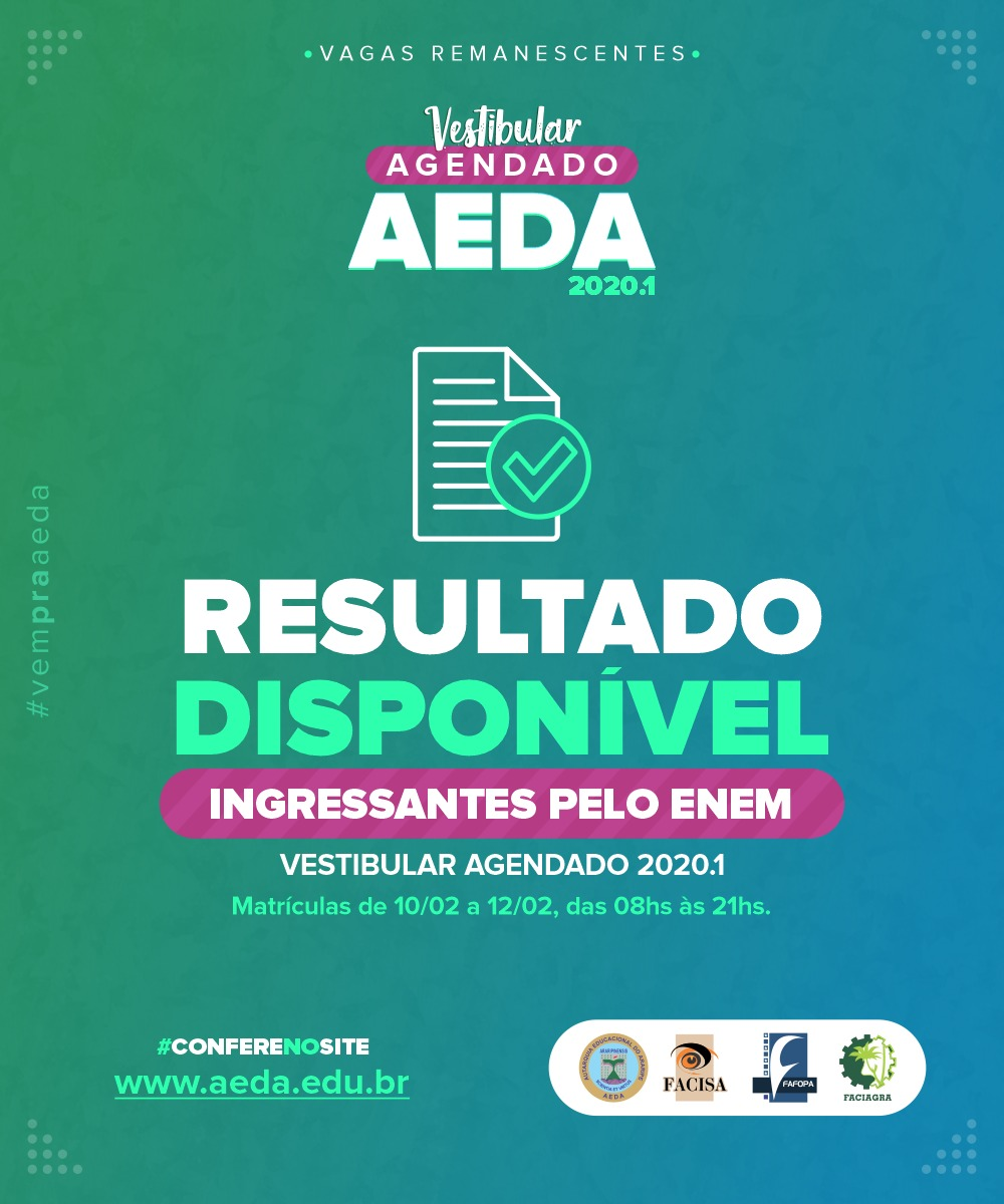 Confira os aprovados pela nota do Enem no Vestibular Agendado 2020.1