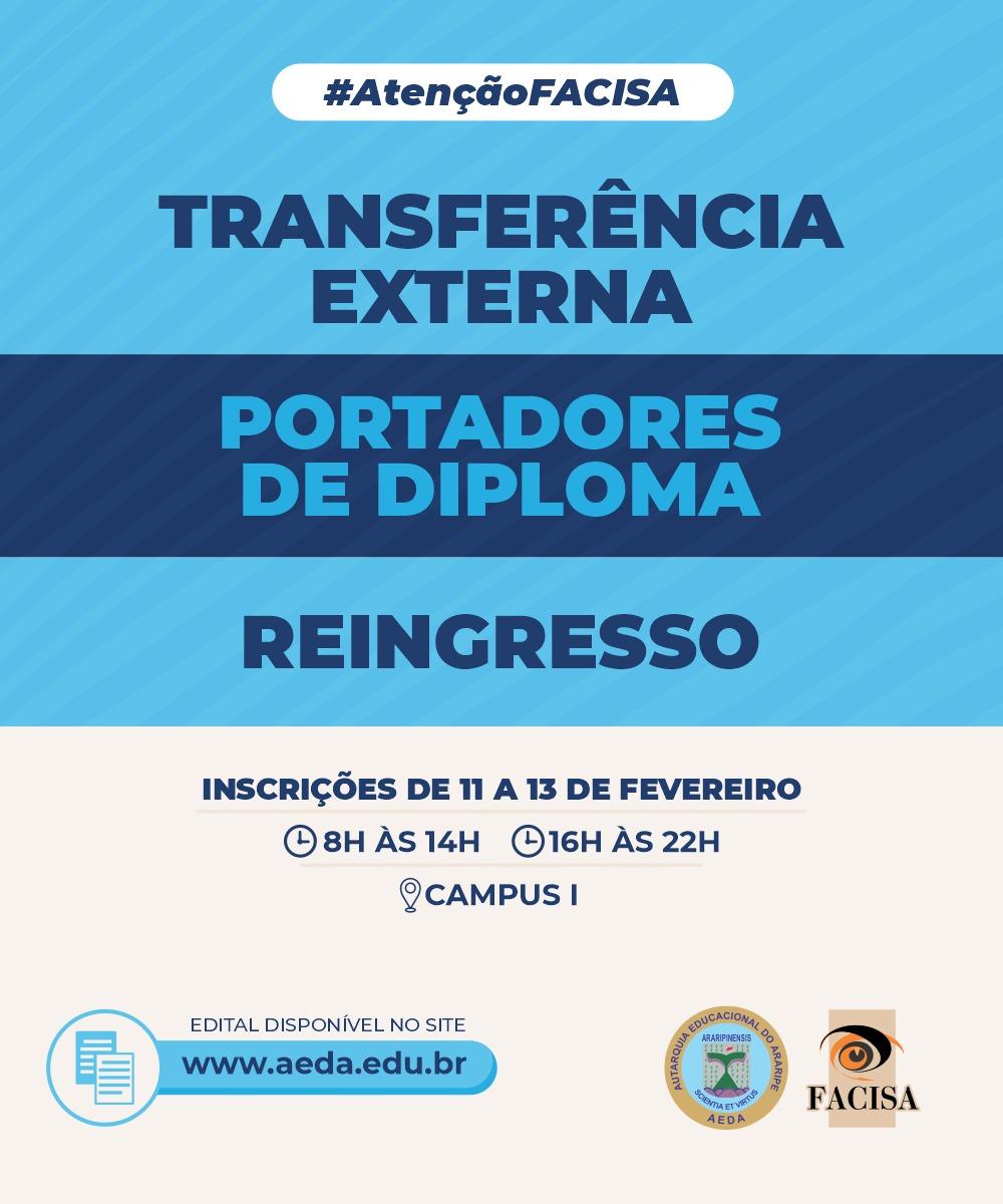 Confira o Edital de Transferência Externa, Portadores de Diploma e Reingresso