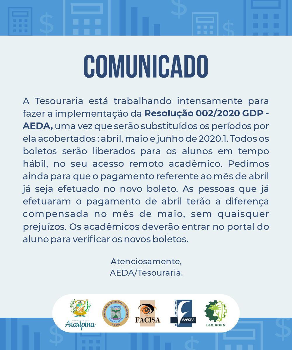 Comunicado AEDA/Tesouraria