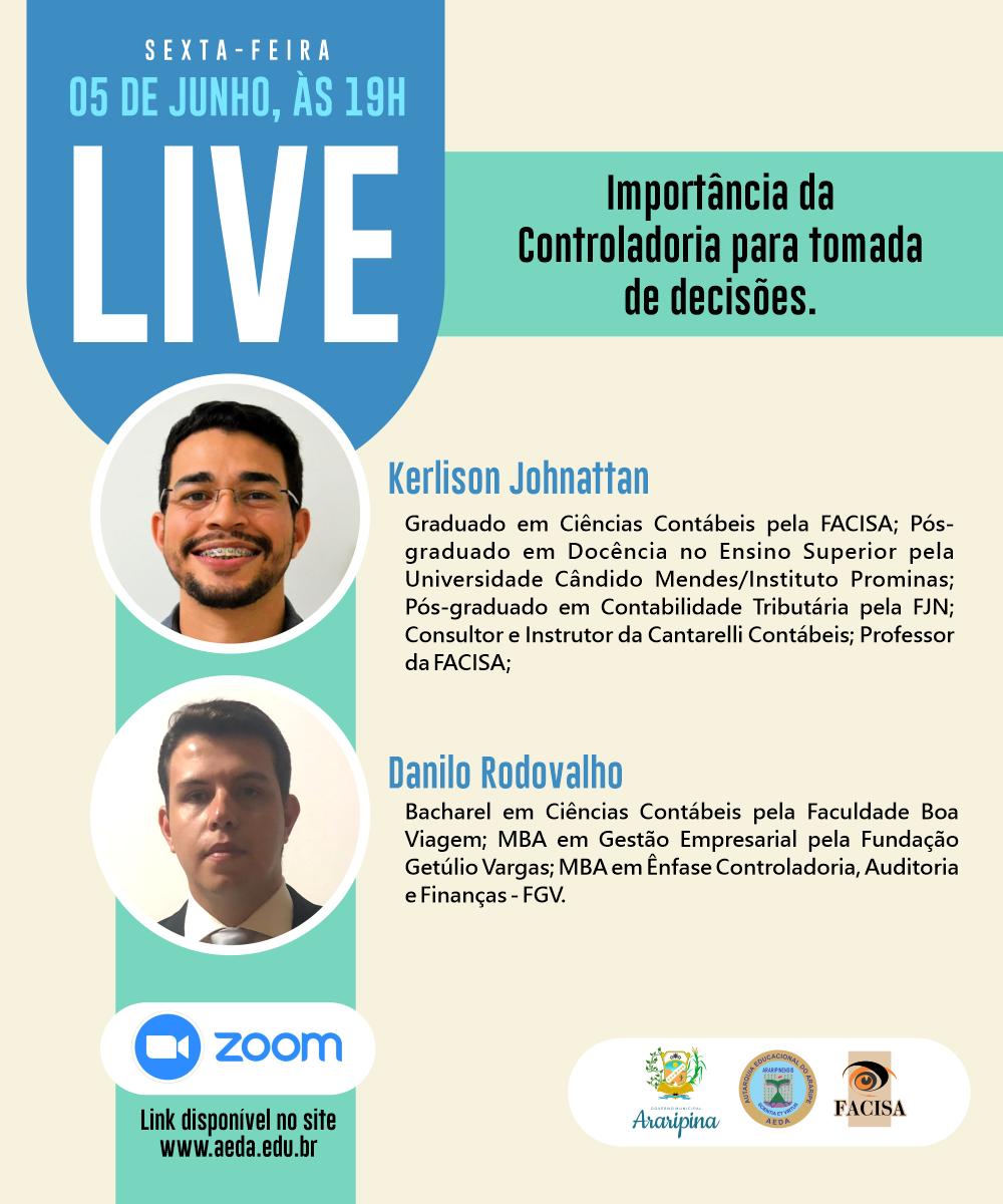 """Aeda realiza live sobre """"Importância da controladoria na tomada de decisões"""" nesta sexta (5)"""