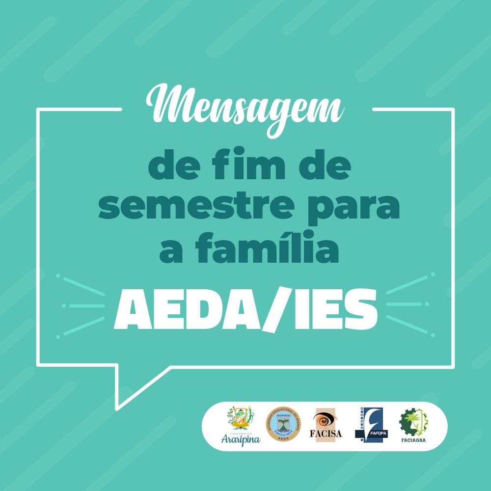 Mensagem de fim de semestre da AEDA