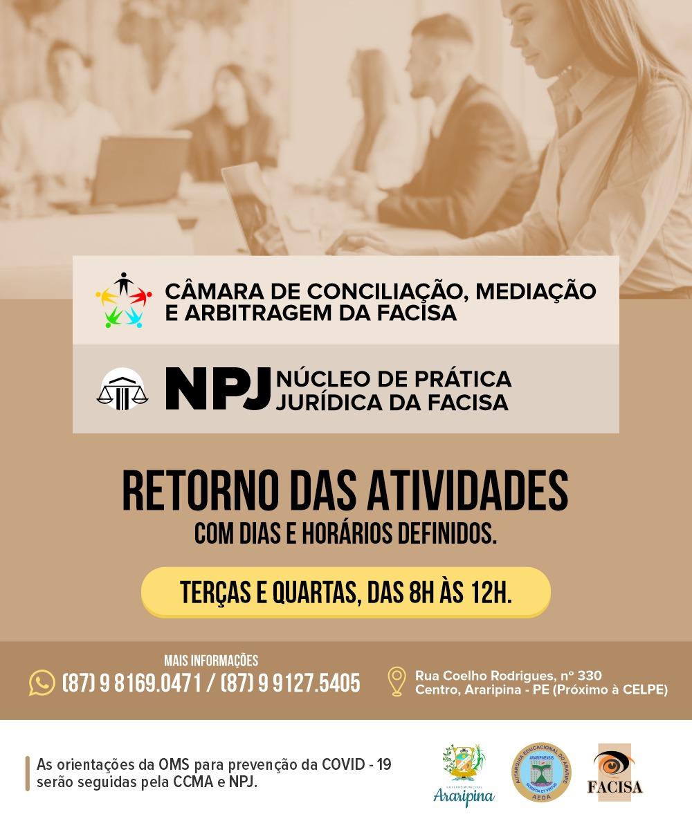 CCMA, NPJ e Escritório Modelo da FACISA retornam às atividades seguindo as orientações da OMS