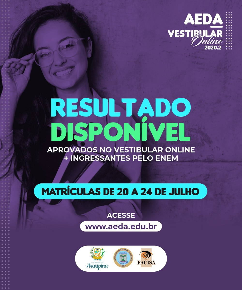 Confira a lista dos aprovados no Vestibular online 2020.2