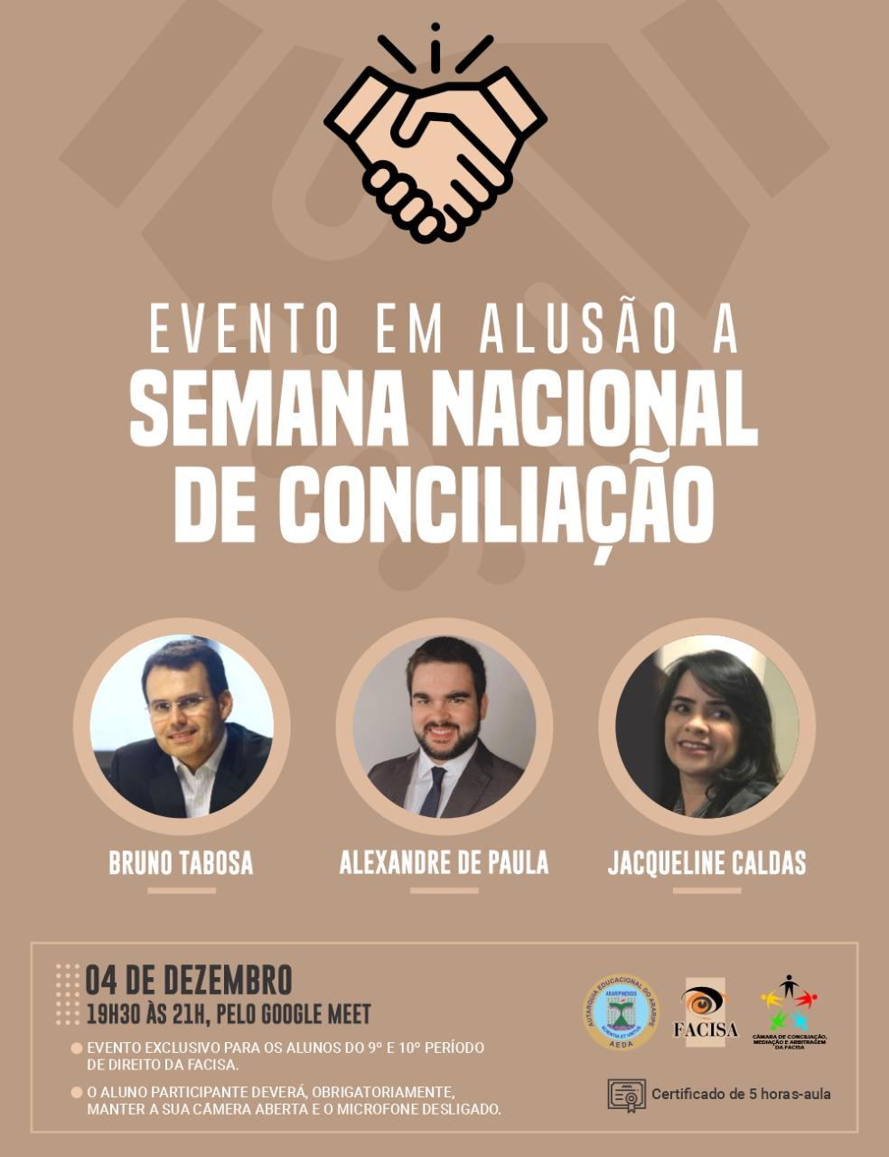 FACISA promoverá evento on-line em alusão a Semana Nacional de Conciliação