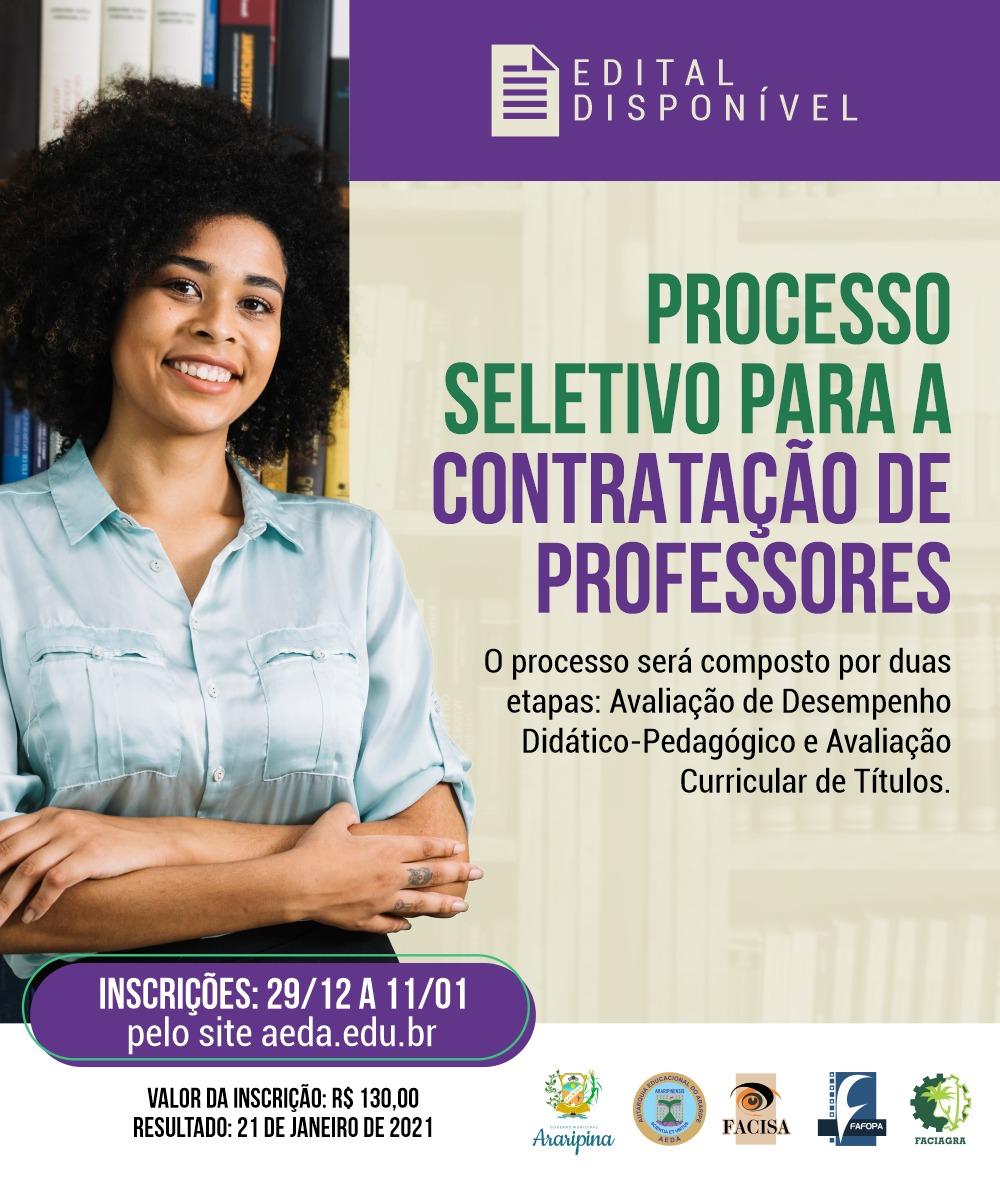 AEDA lança edital de processo seletivo para a contratação de professores