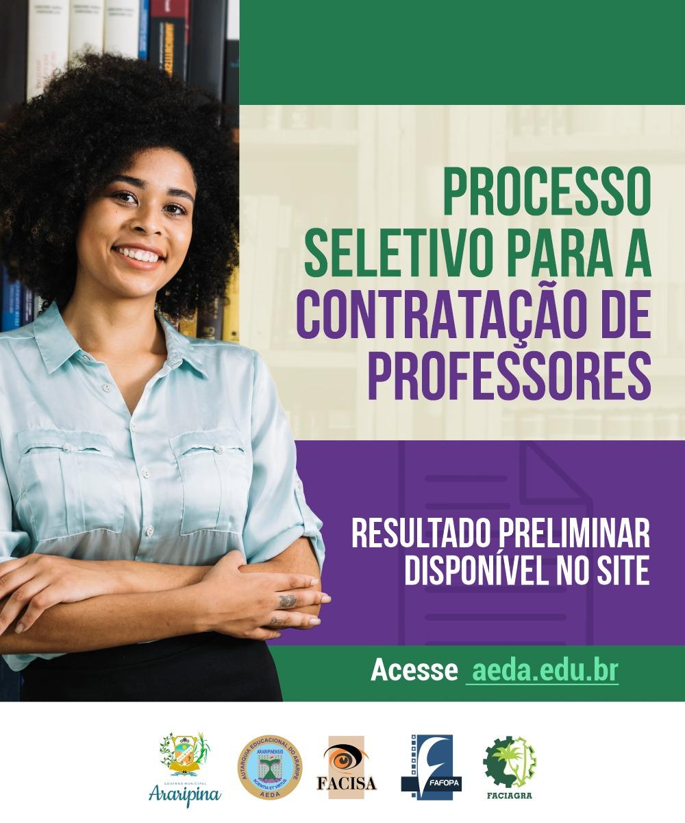 Resultado preliminar da Seleção Simplificada para contratação de professores da AEDA
