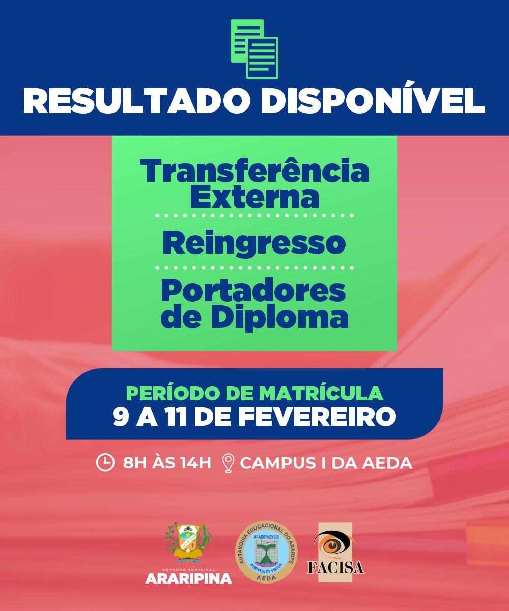 FACISA torna público a lista dos aprovados no processo seletivo de Transferência Externa, Reingresso e Portador de Diploma
