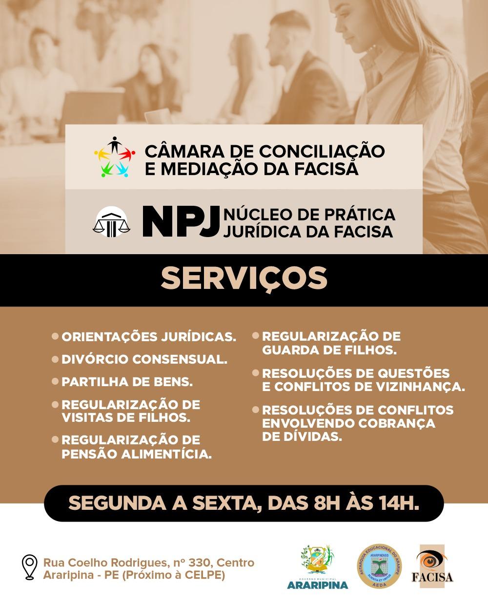 Conheça os serviços ofertados pela Câmara de Conciliação e Mediação e o Núcleo de Prática Jurídica da FACISA