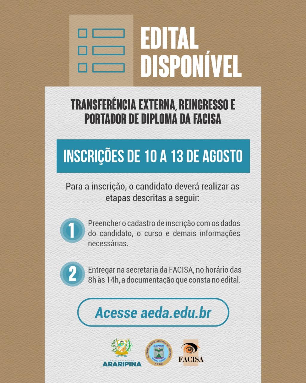 FACISA torna público edital de Transferência Externa, Reingresso e Portador de Diploma; confira