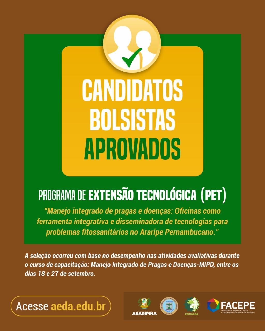 Confira os bolsistas aprovados no Programa de Extensão Tecnológica (PET) que foi aprovado em edital da FACEPE