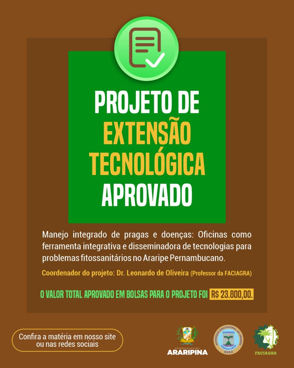 Projeto de extensão tecnológica da FACIAGRA é um dos nove projetos selecionados em edital da FACEPE