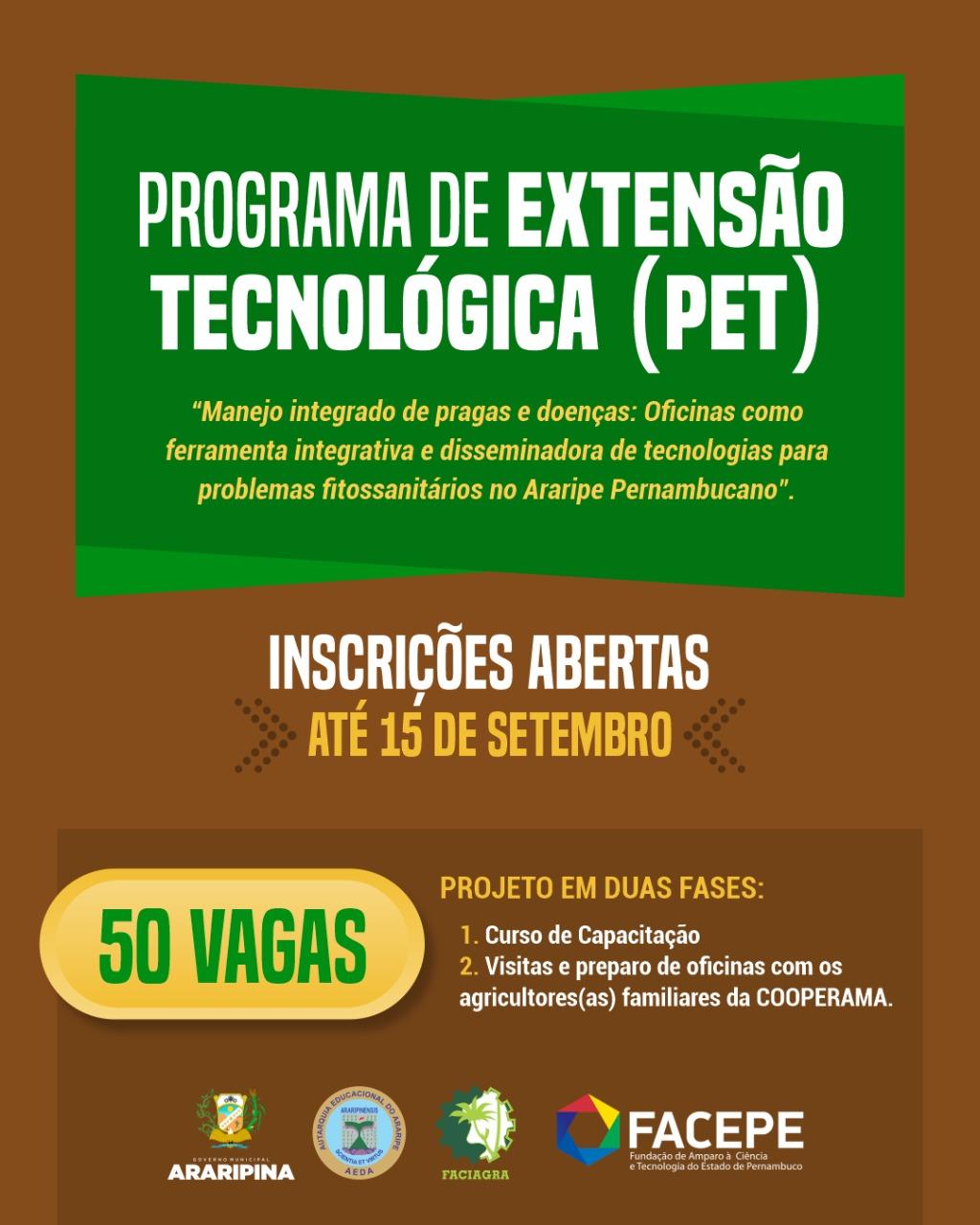 FACIAGRA abre inscrições para o projeto de extensão tecnológica que foi aprovado em edital da FACEPE